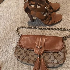 Authentic Gucci Heels & Clutch